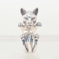 ドッグフィーバーDOGFEVER/CATキャットフィーバーシリーズ/SIAMESEシャム猫無色シルバーカラーなのに、白黒の毛並みさえも想像できてしまう、リアリティに溢れる輪っか型ハグリング、イタリアハンドメイドアクセサリー、指輪、アニマルメンズレディース)n
