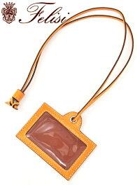 フェリージfelisi国内正規品カードケースクロコエンボス革製クリアパースIDケースマンゴーオレンジ