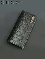 【最終クリアランス!】グッチ[GUCCI][ブラック]横長のロゴバーがアクセントのグッチシマ長財布メンズ