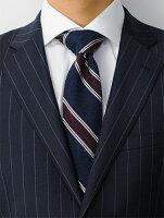 ウルトゥラーレULTURALEボルドーレッドネイビーレジメンタル模様トラッドビジネスシルク100%シースルー系のざっくり織り絹ニットネクタイブランドネクタイ