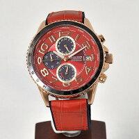 エンジェルクローバーAngelClover国内正規品メンズ腕時計モンドソーラークオーツ日付表示ラウンドワールドタイマーパワーリザーブインジケーターレザー&ラバーバンドレッドでらでら公式