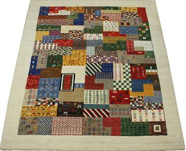 ウール100% ギャッベ絨毯 手織り PG2135 (Y) 約190×287cm マルチカラー 天然草木染め 高級ペルシャギャベ ラグ カーペット ファーハディアン FARHADIAN
