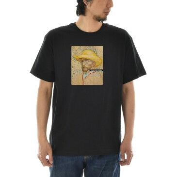 【アートTシャツ】ゴッホ Tシャツ 麦わら帽子を被った自画像 1887年夏 フィンセント・ファン・ゴッホ Life is ART ライフ イズ アート 半袖 ショートスリーブ TEE メンズ レディース 大きいサイズ ビック おしゃれ 絵画 名画 ティーシャツ S M L XL XXL ブラック 黒 ブランド