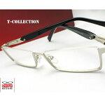 【送料無料】メガネ度付き/度なし/伊達メガネ/pc用レンズ対応/【メガネ通販】T-CollectionEyewearシルバー×ブラックアンダーリム快適バネ内蔵眼鏡一式《今だけ送料無料》【smtb-m】