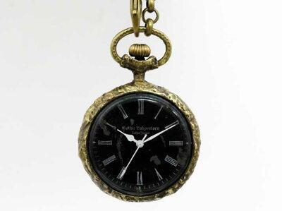 【送料無料】Gothic Laboratory Classic Pocket watch Black手作りネックレス【rakutenshop De'...