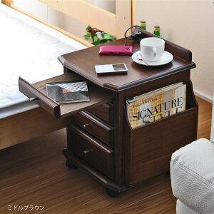 サイドテーブルテーブルベッドサイドテーブルキャスター付きワゴンナイトテーブルおしゃれ北欧木製天然木
