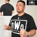 (4/6まで特別送料)大きいサイズ メンズ W.W.E-nWoロゴ半袖Tシャツ(