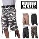 PRO CLUB (プロクラブ)[全5色] 【即納】 [あす楽] PROCLUB 迷彩カーゴショーツパンツ迷彩 パンツ ベルト付きSizes【30〜40】 42〜60もございます