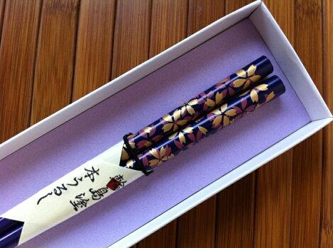 【輪島塗箸】色桜(青紫・お箸1膳)−【紙箱入り】