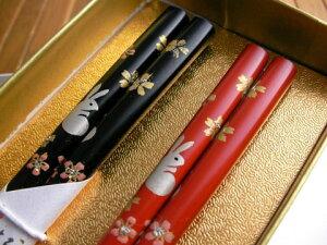 新しい年は新しいお箸で!輪島塗箸 夢うさぎ(夫婦箸)−紙箱入り/贈り物/ペア/結婚祝い/