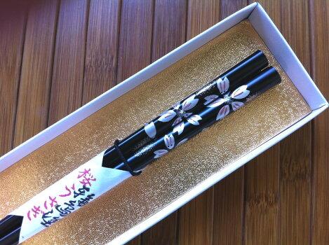 輪島塗箸桜うさぎ(黒・1膳)−