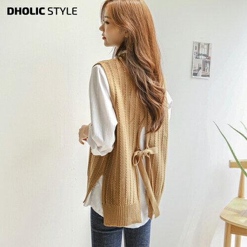 ウェーブラインリボンベスト・p94176レディース tops  韓国ファッションバックリボンスリットバックスリットケーブルニット