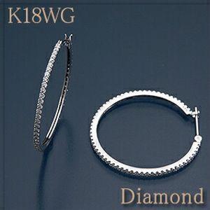 K18WG(ホワイトゴールド)ダイヤ約1.00ctフープイヤリング・ピアス