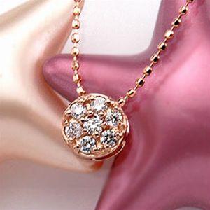 【70%OFF】天然ダイヤモンド0.2ct&ピンクゴールドK18PGセブンダイヤモンドラウンドペンダントネックレス(プチネックレス)
