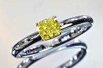 ファンシーイエローダイヤモンドリングイエローゴールドとプラチナで優しく上品な職人絶賛のリング
