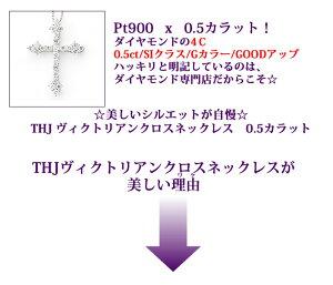 Pt900ダイヤモンドヴィクトリアンクロスD0.5cte