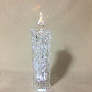 【クリスマス雑貨】アクリルダイヤモンドLEDキャンドルM LEDライトが光るキャンドル型オブジェ クリスマスシーズンの飾りに お店のディスプレーに※5,500円(税込)以上で送料無料(北海道/沖縄は送料別途)