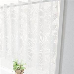 ボタニカル柄フリンジレースカフェカーテン 約150cm幅×47cm丈 2枚組