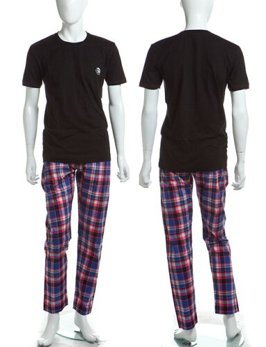 ディーゼル DIESEL Tシャツ パンツ セットアップ UMSET-JADE-PIGIAMA メンズ 00CLDF 00AUE ブラッ...