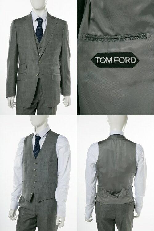 トムフォード TOM FORD 3ピーススーツ ビジネススーツ 7R B メンズ 222R03 31YA4C グレー  10%OFFクーポンプレゼント 【ラッキーシール対応】