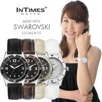 シチズン製ムーブ搭載INTIMES(インタイムス)日本初上陸ブランド!ステンレス・ケース/本革レザー・ベルトスワロフスキーメンズ/レディース腕時計選べる4色♪【SMALL】