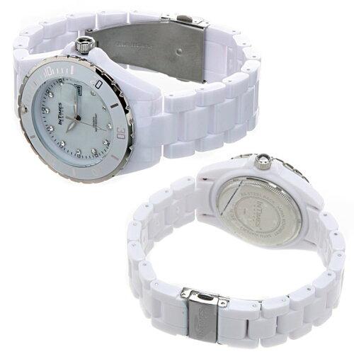 INTIMES(インタイムス)日本初上陸ブランド!真珠貝文字盤40mmスワロフスキー11石メンズ/レディースサイズ腕時計選べる3色♪