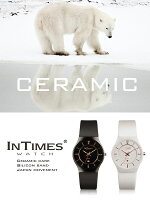 【シチズン日本製ムーブ搭載】INTIMESインタイムススーパースリムセラミックケースシリコンバンドスタイリッシュメンズ/レディース男女兼用サイズ腕時計