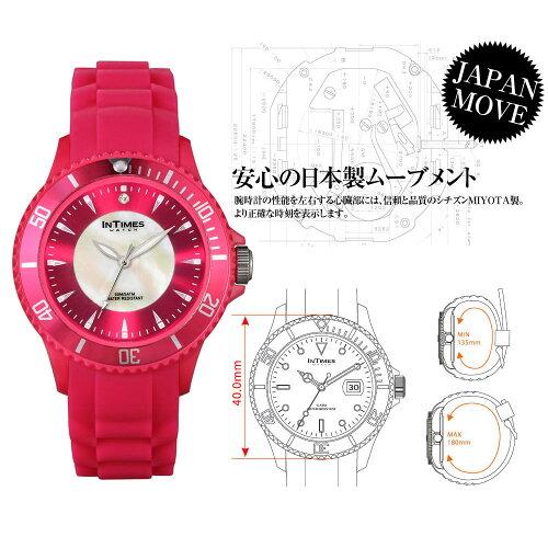 シチズン日本製ムーブ搭載INTIMESインタイムススワロフスキーシェル文字盤軽量防水かわいいパッケージ40mmシリコンレディースアナログ腕時計アウトドア送料無料IT042