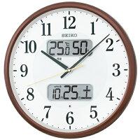 SEIKOCLOCK(セイコークロック)掛け時計電波アナログカレンダー・温度・湿度表示茶メタリックKX383B【お取り寄せ】