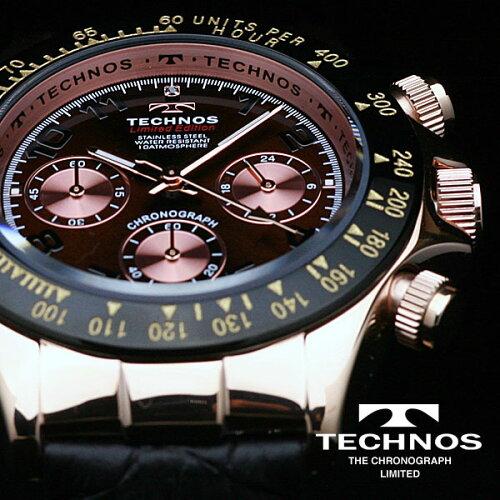 TECHNOSテクノス本革クロノグラフリミテッドメンズ腕時計T4161PA
