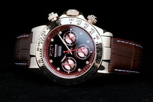 TECHNOSテクノス本革クロノグラフリミテッドメンズ腕時計T4161PH