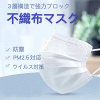 不織布マスク カラー 白 ホワイト 1パック (10枚入り) 3層構造 高密度フィルター 男女兼用 ウイルス対策 使い捨て 大人用 ノーズワイヤー 花粉症