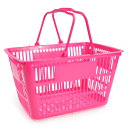 買い物カゴ 11L スモールサイズ ショッピングバスケット [ ピンク ] 11リットル 持ち手 重ね収納 整理 運搬 アウトドア キャンプ インテリア ガレージ 車中 加工 洗濯カゴ