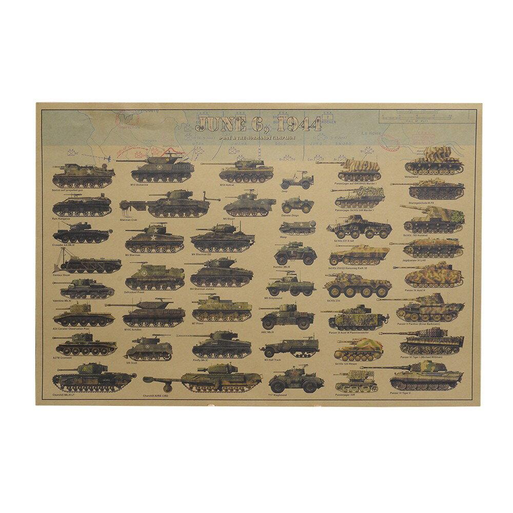 ミリタリーポスター 戦車ガイド D-DAY ノルマンディー WW2 B3サイズ イラストポスター アメリカ軍 ドイツ軍 D-デイ ネプチューン作戦 構図 設計図 クラフト紙