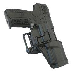 ブラックホークのCQCホルスターは銃をホルスターに差し込むとオートロックがかかり、レバーを押...