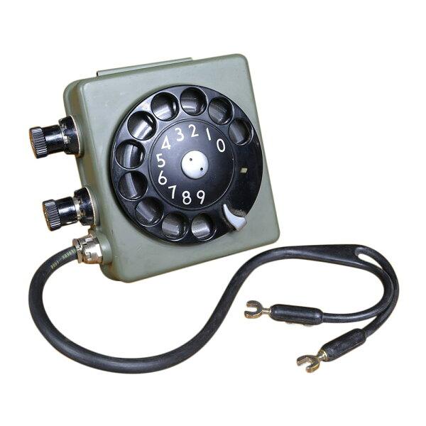 スウェーデン軍放出品ロータリー式ダイヤル野戦電話用通信機器フィールドフォン実物フィールドテレフォンダイアルミリタリーロータリーダ