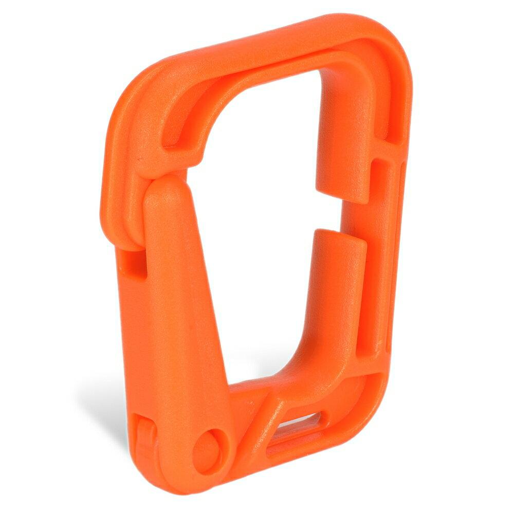 カラビナ D型 プラスチック製 [ オレンジ ] 樹脂製 カラビナ環 D型カラビナ プラスチックカラビナ アウトドア用品 キャンプ用品画像