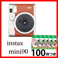 【11月21日発売予定】富士フイルムチェキinstaxmini90ネオクラシックブラウン+チェキフィルム100枚付