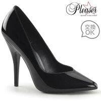 即納靴新品ポインテッドトゥハイヒールパンプス12.5cmピンヒール黒ブラックエナメルPleaserプリーザー大きいサイズあり行事式女装男装パーティ-LGBTファッション