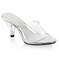取寄せ靴新品薄厚底ミュールサンダル7.5cmクリアヒールクリアPleaserプリーザー大きいサイズあり行事式女装男装パーティ-LGBTファッション