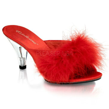 取寄せ靴 PLEASER プリーザー 薄厚底ミュールサンダル レディース メンズ オープントゥ 7.5cm クリアヒール 赤 レッド サテン ふさふさファー付き 人気 大きいサイズあり イベント セクシー サンタ 女装 パーティー クリスマス コスプレ
