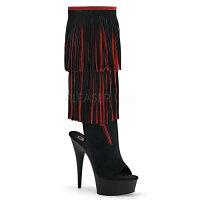 取寄せ靴送料無料新品かわいいフリンジ付きオープントゥハイヒール厚底ロングブーツサイドジッパー付き15cmピンヒール黒ブラック赤レッドスエードPleaserプリーザー大きいサイズあり行事式女装男装パーティ-LGBTファッション