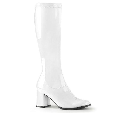 取寄せ靴 送料無料 コスプレ ロングブーツ サイドジッパー 8cm チャンキーヒール 白 ホワイト エナメル FUNTAZMAファンタズマ 大きいサイズあり ダンス 仮装 女装 男装 パーティ- ハロウィン コスプレ