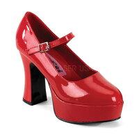 取寄せ靴新品甲ベルト付きポインテッドトゥ厚底パンプス10cmチャンキーヒール赤レッドエナメルFUNTASMAファンタズマ大きいサイズあり行事式女装男装パーティ-LGBTファッション