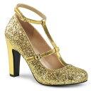 取寄せ靴 キラキララメ アンクルベルト ラウンドトゥ パンプス 10cmヒール 金 ゴールド グリッター 大きいサイズあり イベント 仮装 女装 男装 パーティ- LGBTファッション