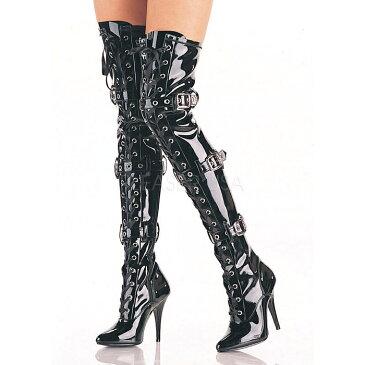 即納靴 PLEASER プリーザー ニーハイブーツ サイハイブーツ レディース メンズ ポインテッドトゥ 約12.5cm ヒール 黒 ブラック エナメル リボンベルト 編み上げ シッパー 大きいサイズあり 22.5 23 23.5 24 24.5 25 25.5 26 26.5 27 27.5 28 28.5 29 29.5 30 cm センチ