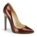 取寄せ靴 新品 ポインテッドトゥ 人気のアニマル柄 ハイヒールパンプス 12.5cmピンヒール 赤レッドヒョウ柄 DEVIOUSデビアス 大きいサイズあり 行事 式 女装 男装 パーティ- LGBTファッション