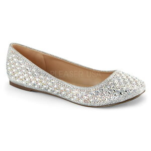即納靴新品ラウンドトゥきらきらラメラインストーン付きフラットぺたんこパンプス銀シルバーグリッターメッシュファブリック大きいサイズあり行事式女装男装パーティ-LGBTファッション