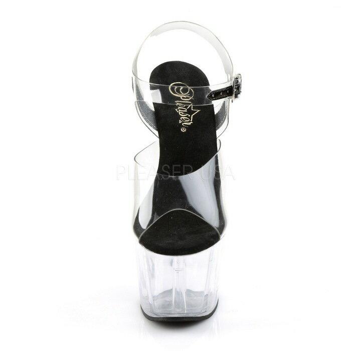 取寄せ靴  ベルト付き 厚底サンダル 17.5cmピンヒール 黒 ブラック クリア Pleaserプリーザー 大きいサイズあり イベント 仮装 女装 男装 パーティ- ハロウィン コスプレ