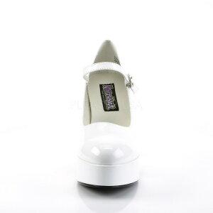 取寄せ靴新品甲ベルト付きポインテッドトゥ厚底パンプス10cmチャンキーヒール白ホワイトエナメルFUNTASMAファンタズマ大きいサイズあり行事式女装男装パーティ-LGBTファッション